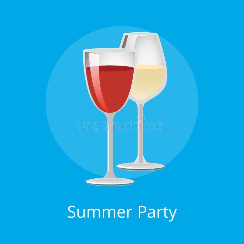 Vin för elit för exponeringsglas för sommarpartiaffisch rött vitt vektor illustrationer