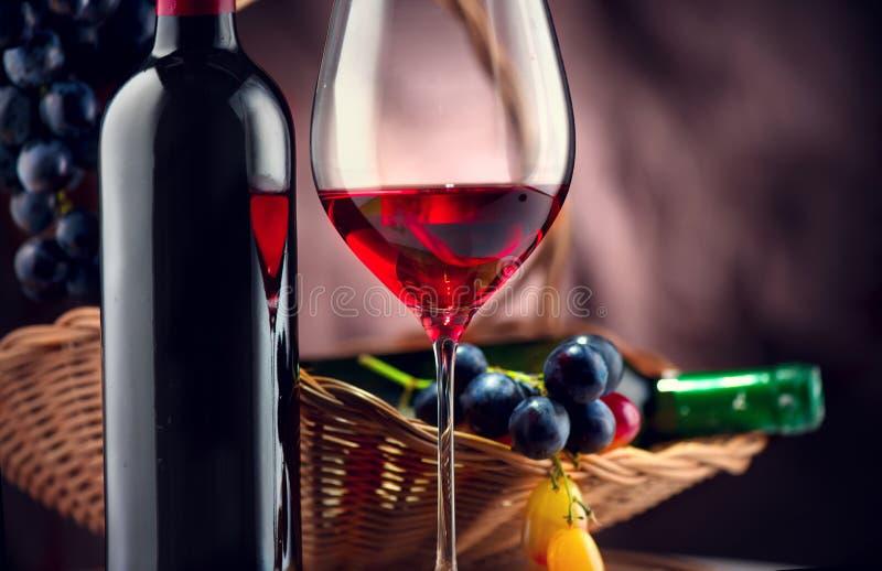 Vin Flaska och exponeringsglas av rött vin med mogna druvor arkivbild