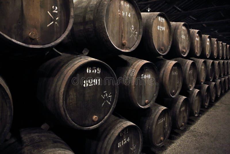 Vin fortifié en bois de port de prise de barils photos libres de droits
