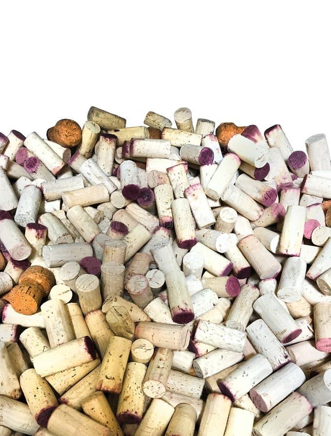 Vin korkar den vita lodlinjen f?r bakgrund arkivfoto