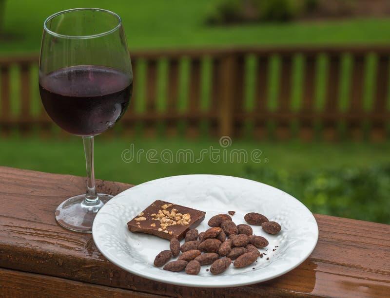 Vin med choklad och dolda mandlar för choklad royaltyfri bild