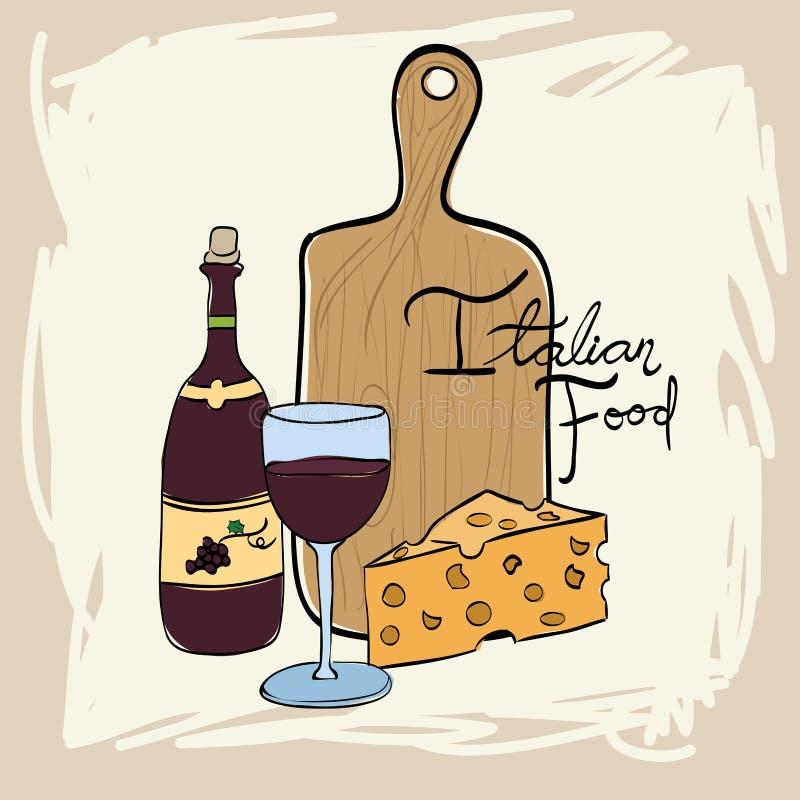 Vin med den italienska matmenyn vektor illustrationer