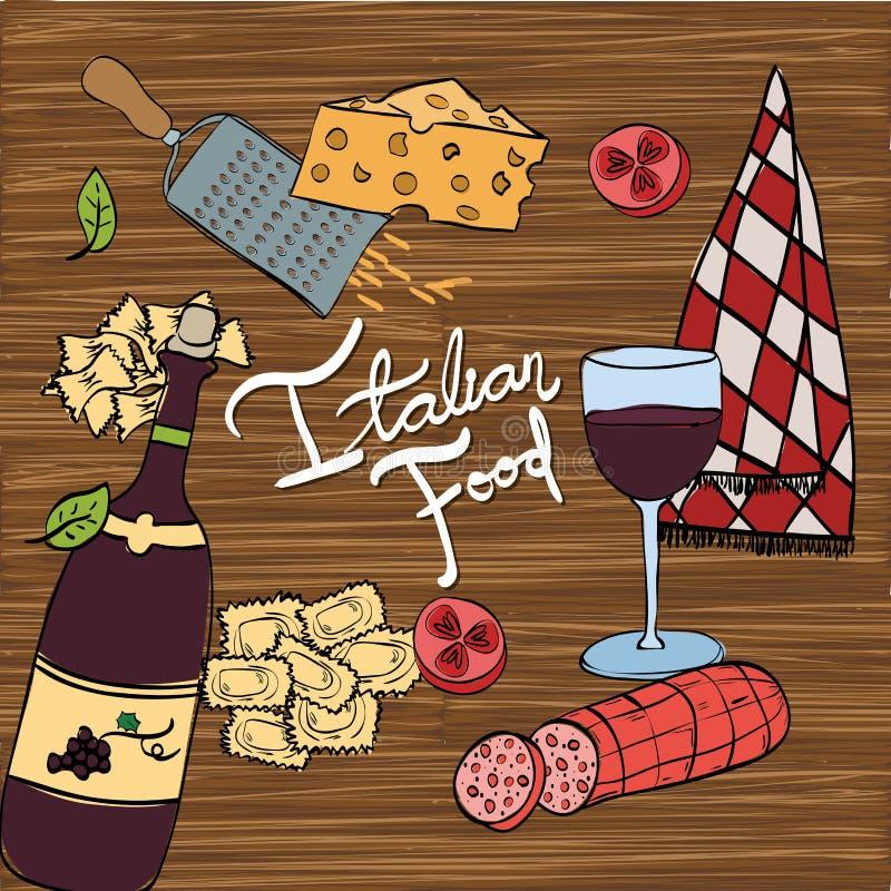 Vin med den italienska matmenyn royaltyfri illustrationer