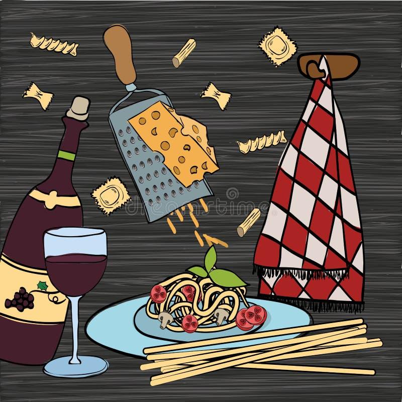 Vin med den italienska matmenyn stock illustrationer
