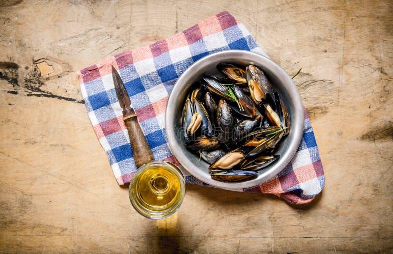 Vin med musslor i en kopp på tyget fotografering för bildbyråer