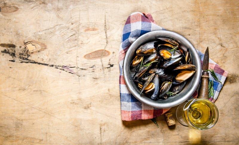 Vin med musslor i en kopp på tyget arkivbilder