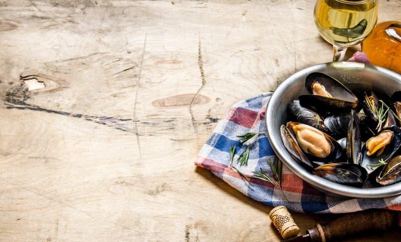 Vin med musslor i en kopp på tyget arkivbild