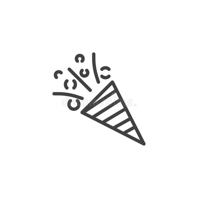 Vin met het pictogram van het confettienoverzicht royalty-vrije illustratie