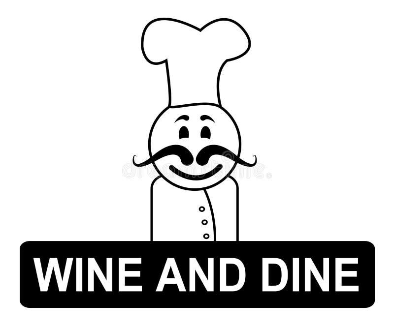 Vin och Dine Means Fine Dining And kockar stock illustrationer