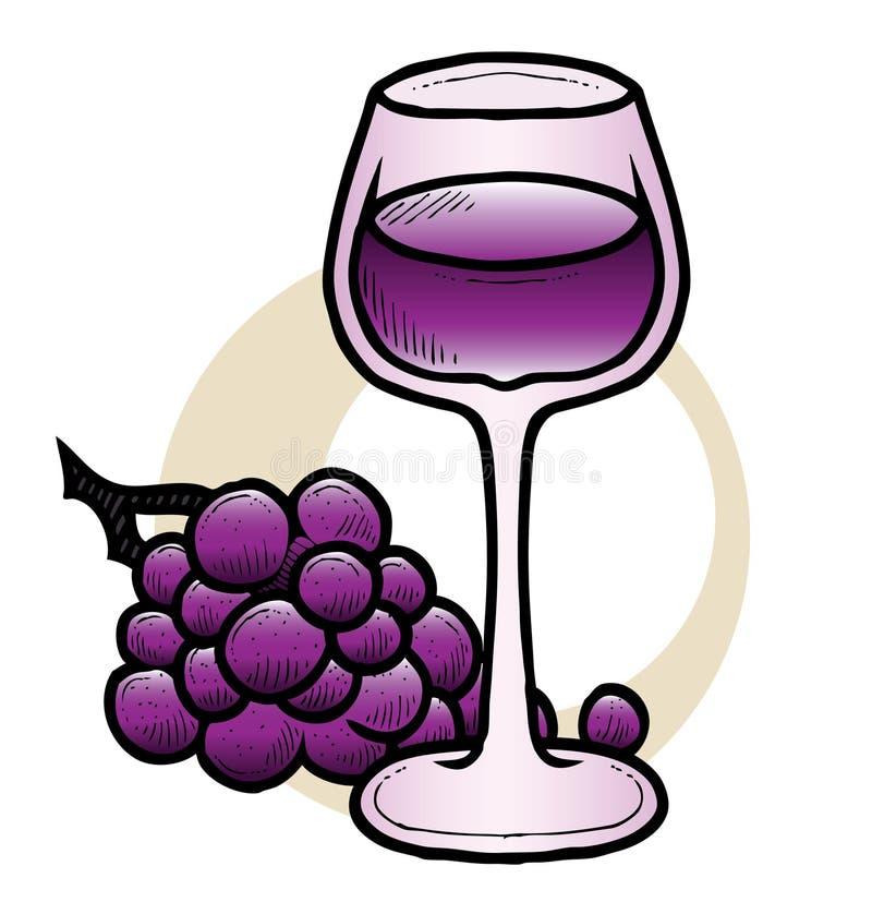 Vin och druvor stock illustrationer