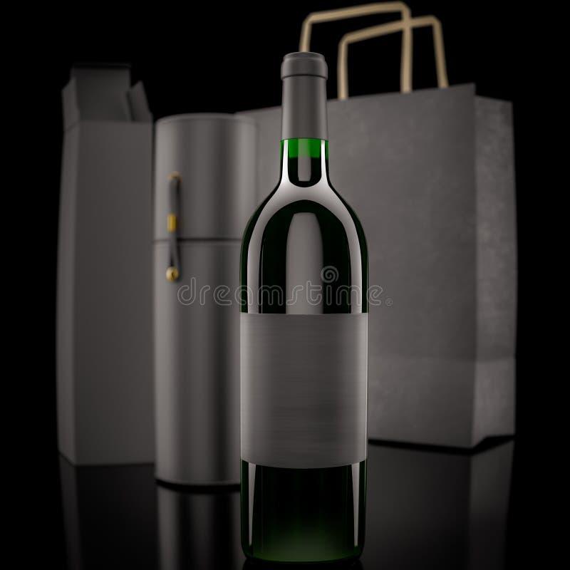 Vin- och emballagepåsar stock illustrationer