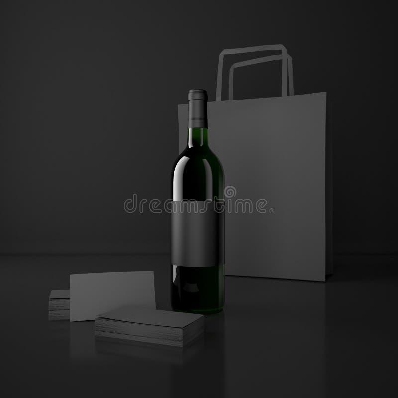 Vin- och emballagepåsar vektor illustrationer
