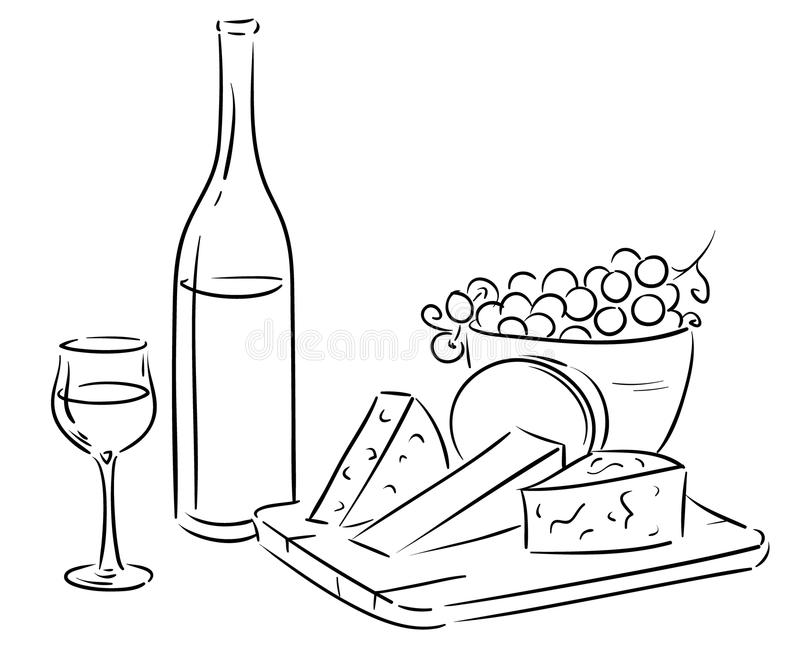Vin och ost vektor illustrationer