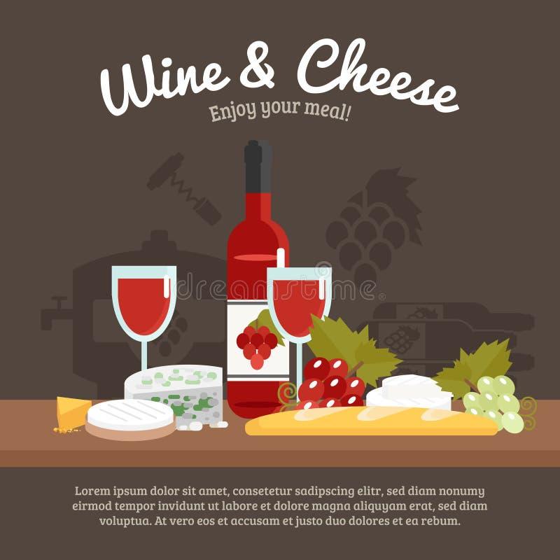 Vin- och ostliv fortfarande stock illustrationer