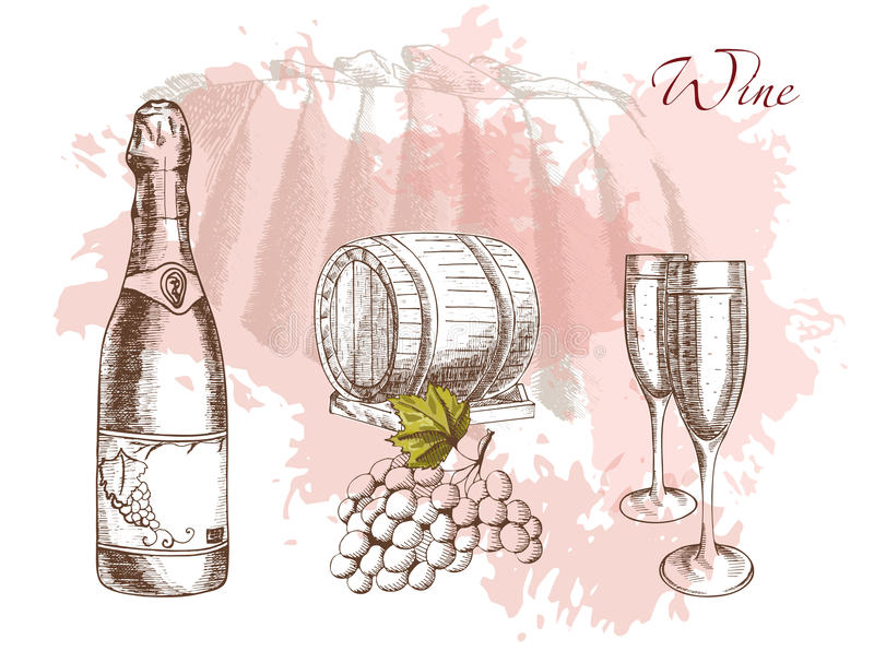 Vin och winemaking stock illustrationer