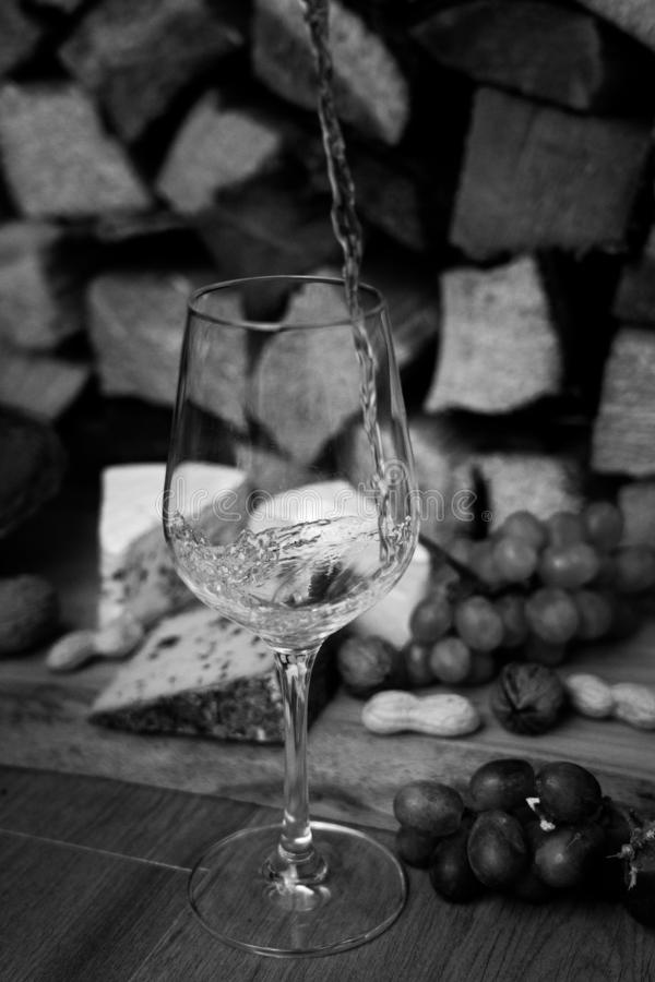Vin, ost och druvor - en smaklig matställe royaltyfria bilder