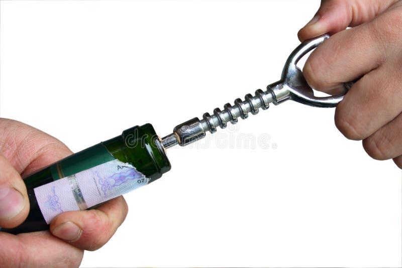 vin ouvert de bouteille photo libre de droits
