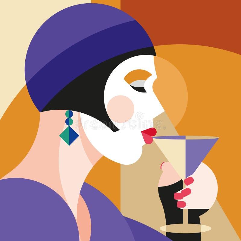 Vin potable de femme élégante à la mode Femme moderniste de style dans un chapeau avec la coiffe élégante Art de style de moderni illustration de vecteur