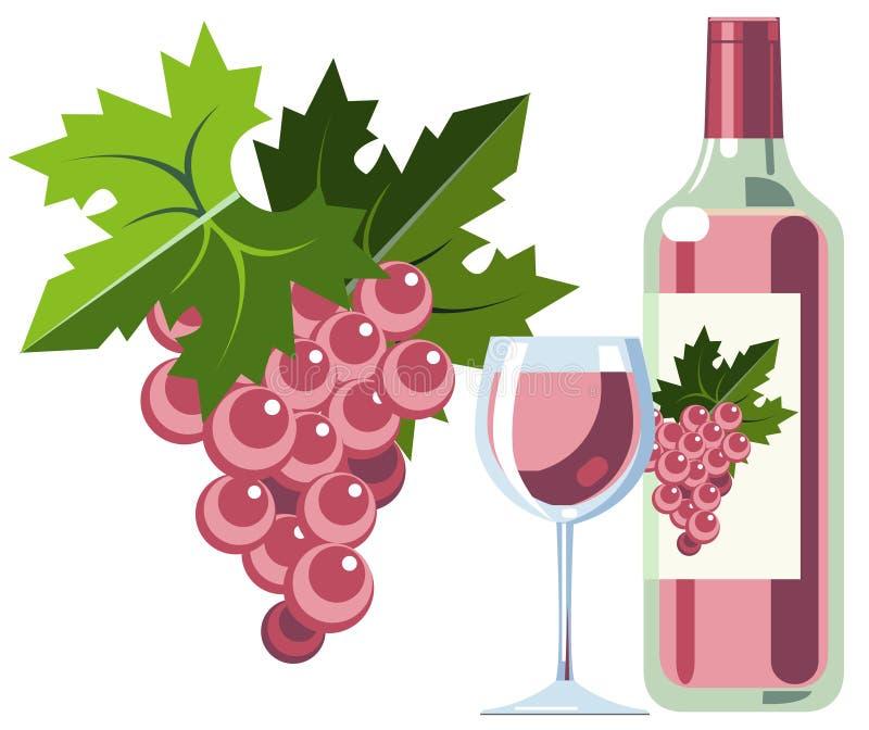 Vin rose avec des raisins, la bouteille et la glace illustration stock