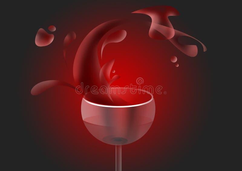 Vin rouge dans la glace illustration stock