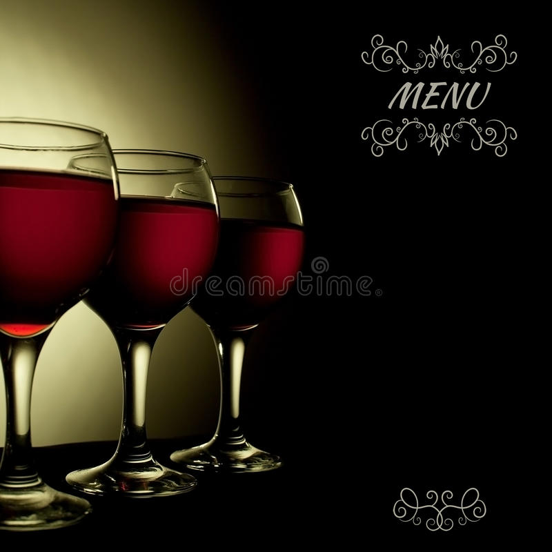Vin rouge en collage en verre de menu de vintage image stock