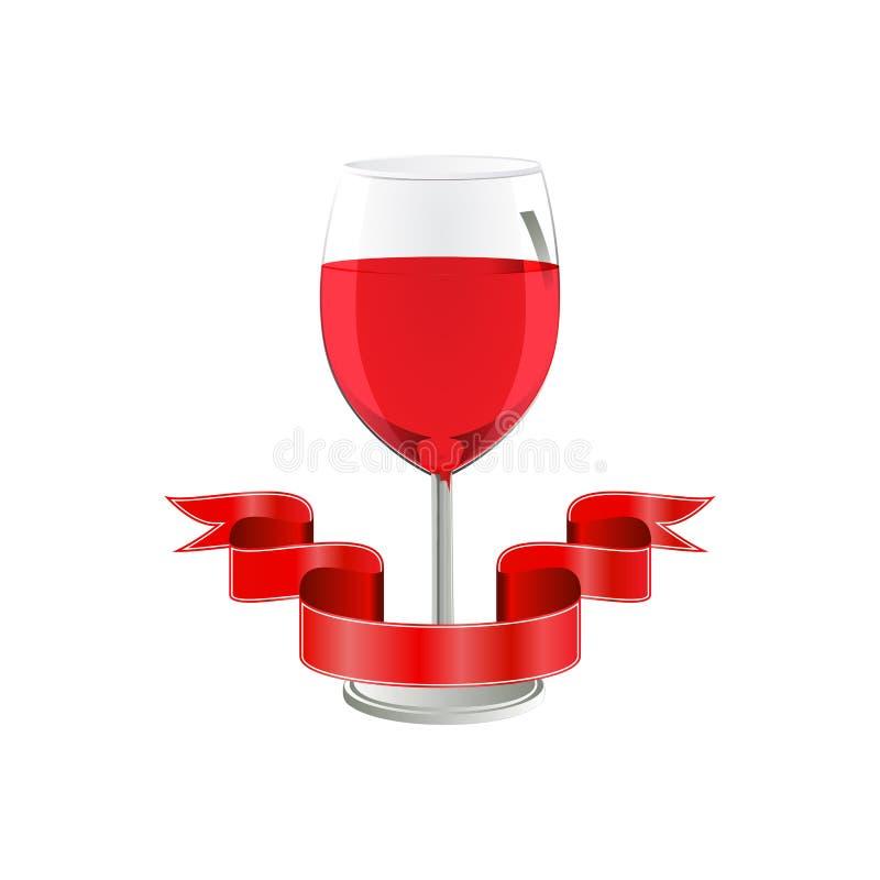 Vin rouge en verre avec le ruban sur le fond blanc illustration de vecteur