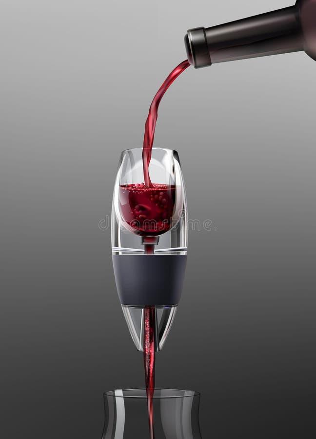 Vin rouge pleuvant à torrents illustration stock