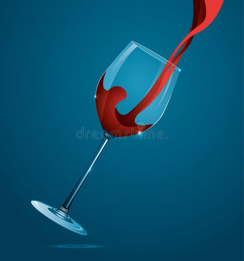 Vin rouge pleuvant à torrents dans la glace illustration de vecteur