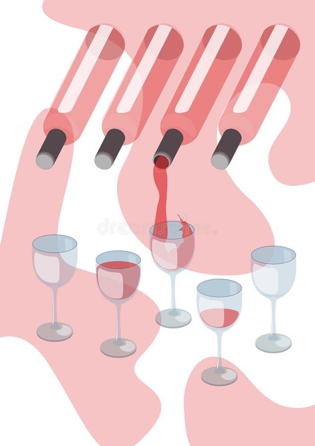 Vin rouge pleuvant à torrents dans la glace de vin illustration de vecteur