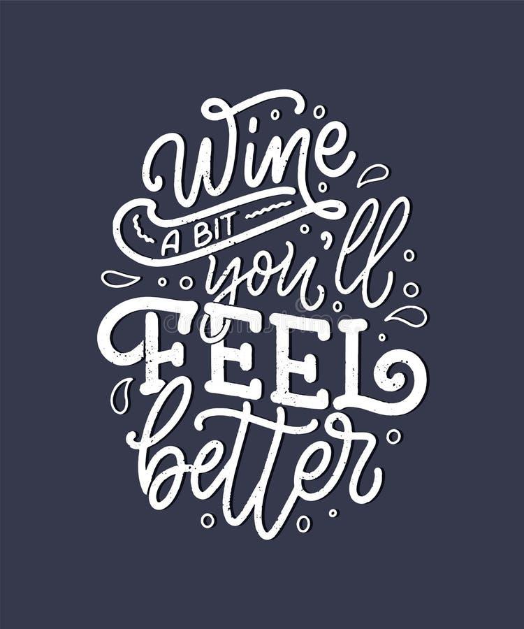 Vin som märker sammansättning i modern stil Begrepp för drink för alkoholdryckstång Tappningtypografi för tryck eller affisch vek vektor illustrationer