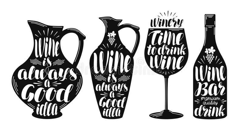 Vin vinodlingetikettuppsättning Dekorativa beståndsdelar för samling för menyrestaurang eller kafé Bokstäver kalligrafivektor stock illustrationer