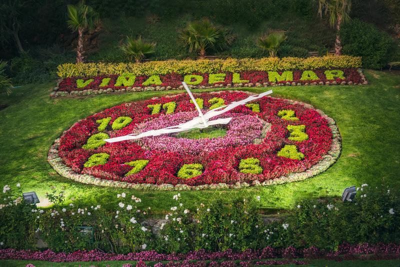 Vina del Mar Clock Flower - Reloj de Flores - Vina del Mar, Cile immagini stock
