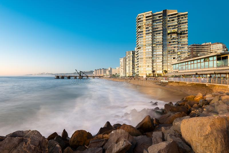 View of Acapulco beach and Muelle Vergara at dusk. royalty free stock image