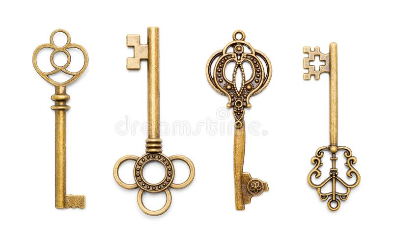 Antique Old Keys. Vinage Antique Old Keys Isolated on a White Background royalty free stock photos