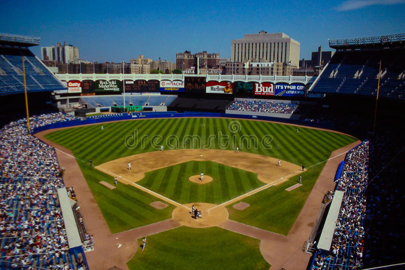 Vinage look at Old Yankee Stadium. View from behine home plate at historic Yankee stadium in the Bronx, NY royalty free stock photo