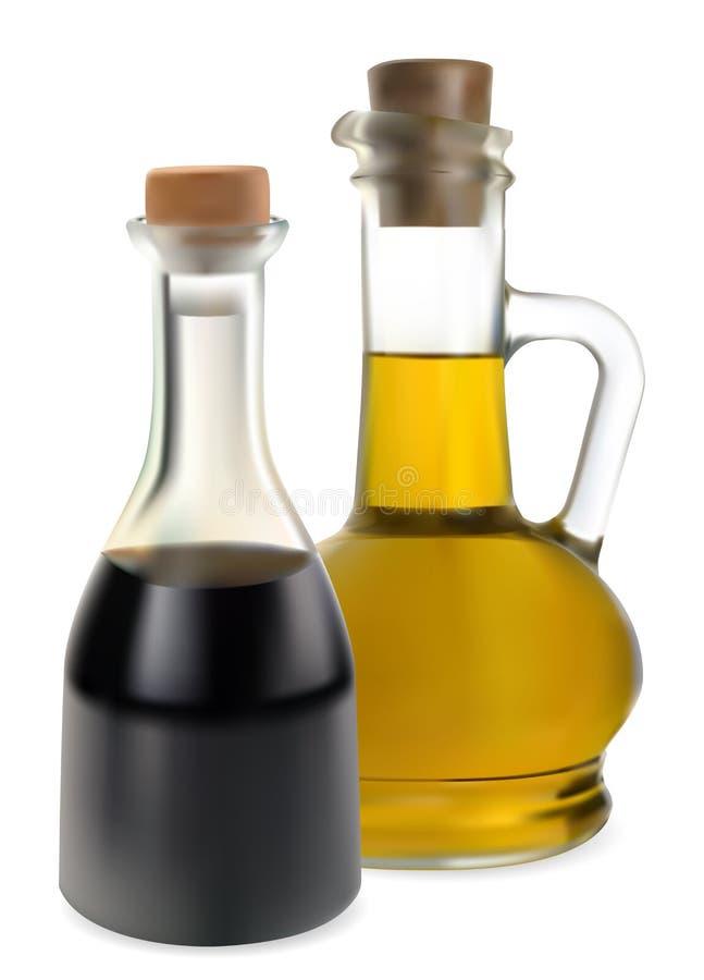 Vinagre balsámico y aceite de oliva stock de ilustración