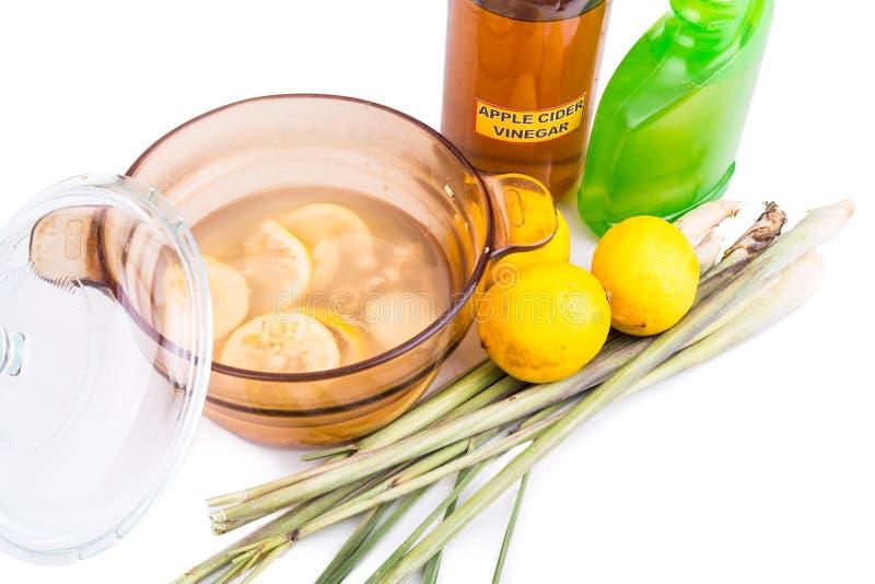 Vinagre de sidra de maçã, limão, repelle eficaz do inseto do nardo imagens de stock