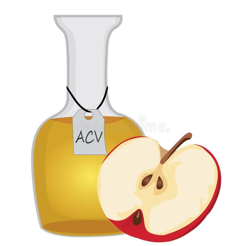 Vinagre de sidra de maçã e uma metade de uma maçã ilustração stock
