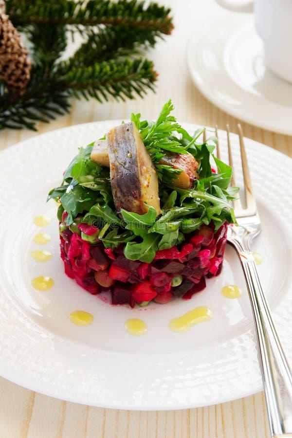 Vinagrete tradicional da salada do russo fotografia de stock
