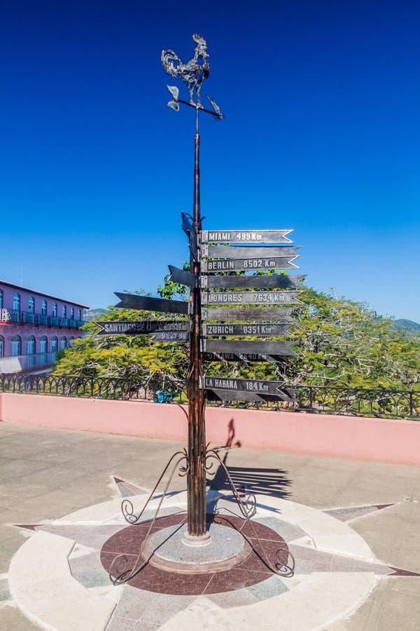 VINALES, CUBA - FEB 18, 2016: Direction arrows near Hotel Los Jazmines in Vinales valley, Cuba stock photography