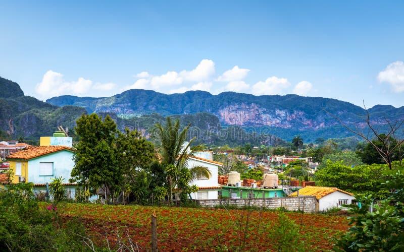 Vinales, Cuba - March 26 2019: View of Vinales Valley, UNESCO, Vinales, Pinar del Rio Province, Cuba. royalty free stock photos