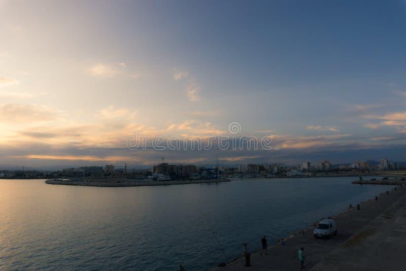 Vinaros, Spain, September 03, 2017: Vinaros view from port in sunset stock photography