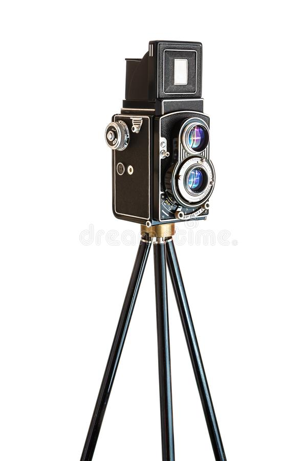 Vinatage Camera on tripod stock images