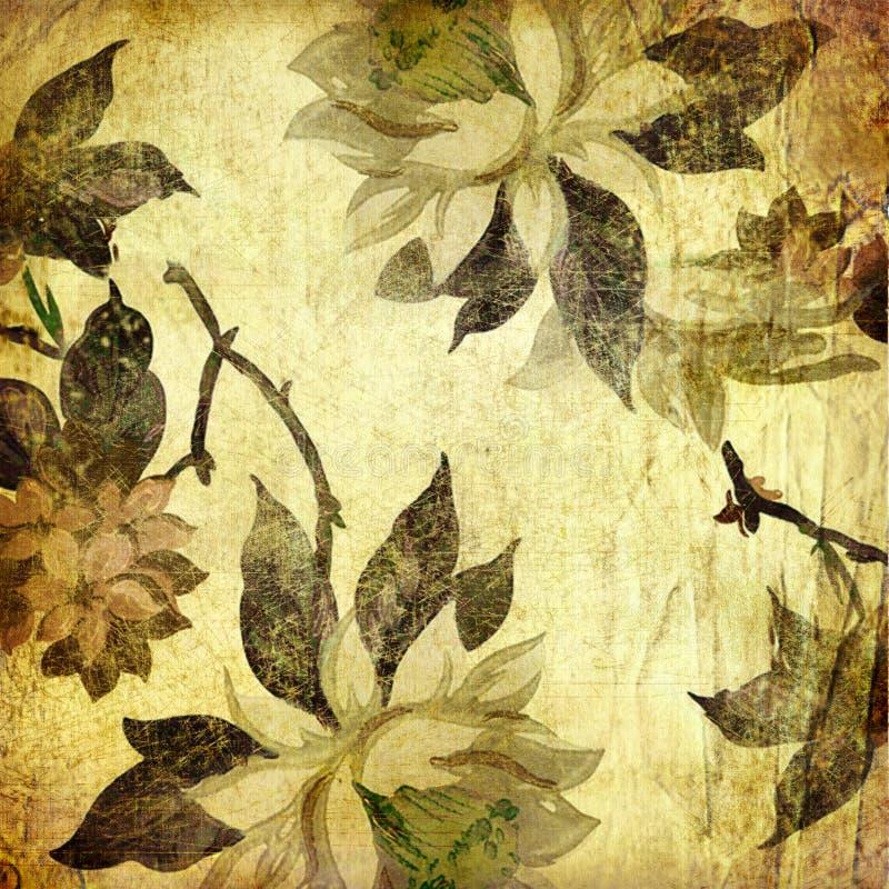 Vinatge花卉纸张 皇族释放例证