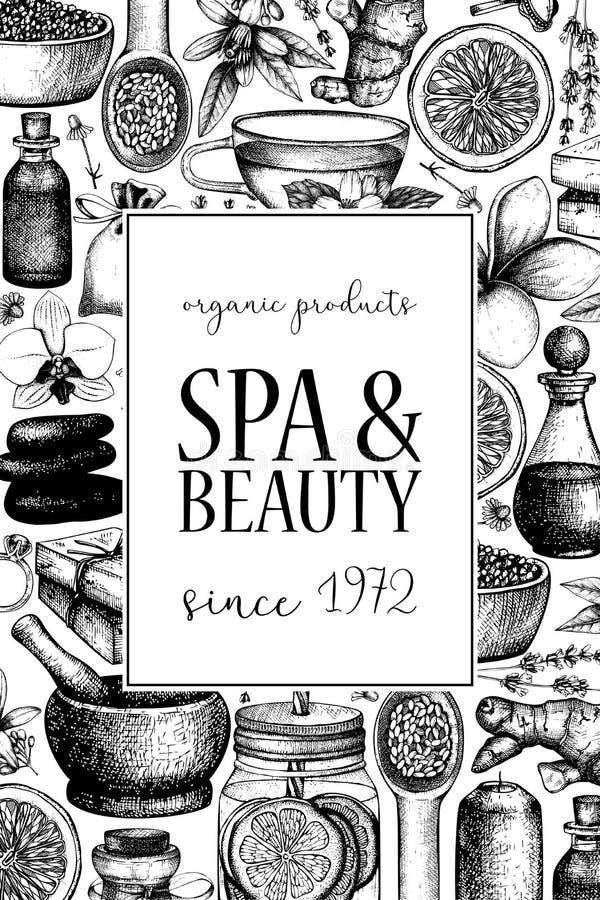 Vinatge dframe met hand getrokken KUUROORD en schoonheidsillustraties Uitstekende Schoonheidsmiddelen en aromatische ingrediënten royalty-vrije illustratie