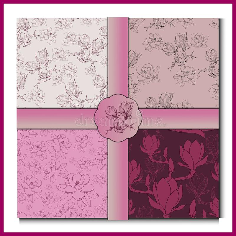 Vinatge magnolii kolekcja royalty ilustracja