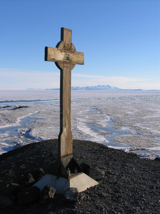Vince's Cross. Is in memory of George Vince who lost his life in a blizzard near this location in 1902 on Scott's Discovery Expedition royalty free stock photo