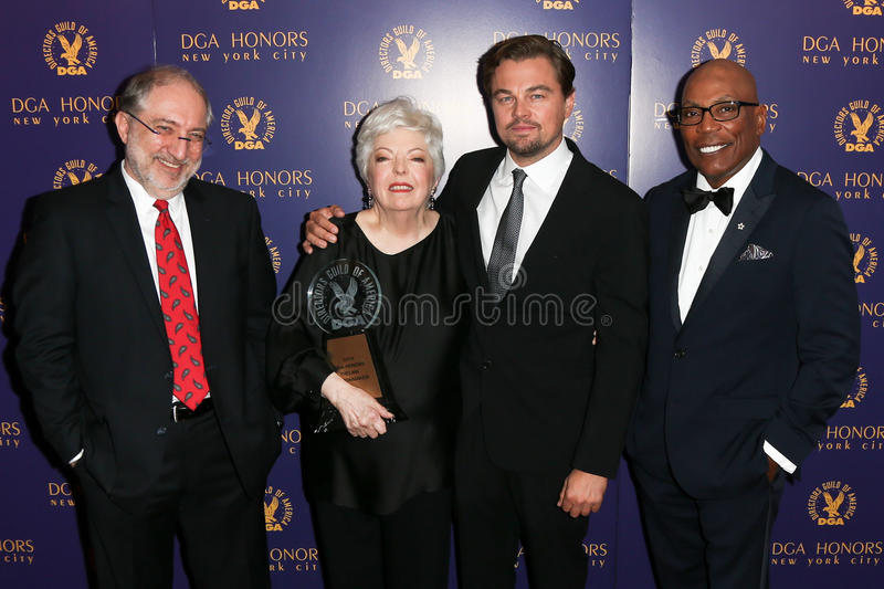 Vincent Misiano, Thelma Schoonmaker, Leonardo DiCaprio, Paris Barclay. NEW YORK-OCT 15: (L-R) DGA National Vice President Vincent Misiano, Film editor Thelma royalty free stock photos