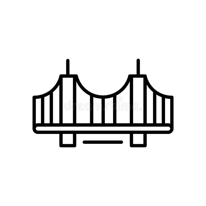 Vincent Thomas Bridge-Ikonenvektor lokalisiert auf weißem Hintergrund, Vincent Thomas Bridge-Zeichen, Linie oder linearem Zeichen stock abbildung