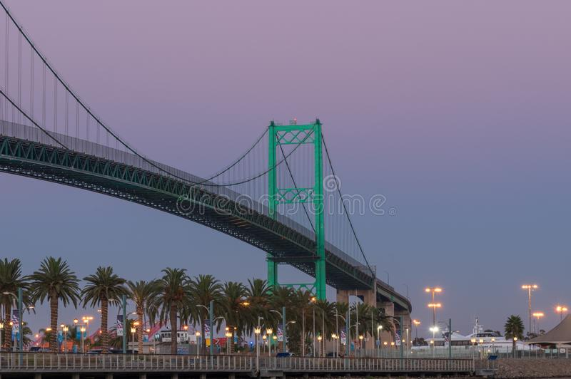 Vincent Thomas Bridge Los Angeles Port fotografia stock